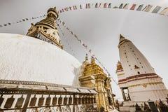 Stupa in Swayambhunath Monkey temple in Kathmandu, Nepal. Stock Photos