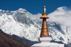 Stupa at Tengboche. View of stupa at Tengboche Monastery with Mt. Everest, Nuptse to Lhotse ridge and Ama Dablam in the background, Tengboche, Solu Khumbu, Nepal Royalty Free Stock Image