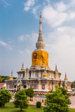 Stupa in thailand. Tall pagoda Buddhist sacred Maha Sarakham in Thailand Stock Images