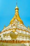 The stupa of U Min Thonze Temple, Sagaing. The beautiful decorative elements of the stupa of U Min Thonze Temple are covered with gilt, sagaing, Myanmar royalty free stock photos