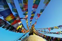 Stupa van Bodhnath met kleurrijke vlaggen in Nepal Royalty-vrije Stock Afbeelding