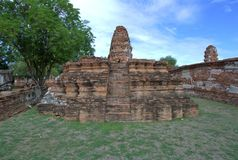 Stupa at Wat Mahathat, archaeological sites and artifacts. Royalty Free Stock Image