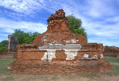 Stupa at Wat Mahathat, archaeological sites and artifacts. Royalty Free Stock Photo