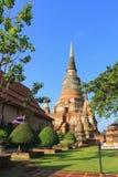 Stupa in Wat Yai Chaimongkol Royalty-vrije Stock Foto