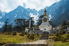The stupa at Yumthang Valley in Lachung, North Sikkim, India Royalty Free Stock Photo