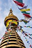 Stupaen av den Swayambunath templet, Katmandu, Nepal Arkivfoto