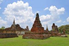 Stupas σε Wat Maha That σε Ayutthaya Στοκ Φωτογραφία