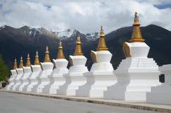 Stupas перед священной буддийской горой Meili Стоковое фото RF