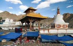 Stupas, bazaar and Friendship Gate in Leh - Ladakh Royalty Free Stock Photo