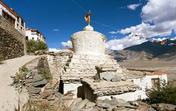 Stupas with beautiful clouds in Karsha gompa Stock Photos