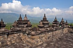 Stupas and bells of Borobodur, Indonesia Royalty Free Stock Photography
