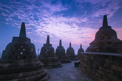 Stupas in Borobodur Indonesia Royalty Free Stock Images