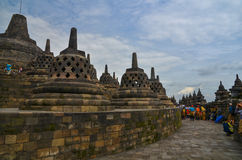 Stupas in Borobudur, Magelang, Indonesië Royalty-vrije Stock Foto's