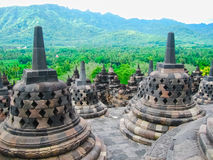 Stupas in Borobudur Temple, Central Java at Indonesia Stock Photo