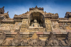 Stupas in Borobudur Temple,  Indonesia Royalty Free Stock Photos