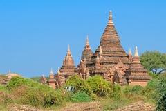 Stupas e pagodes de Bagan antigos Fotografia de Stock Royalty Free
