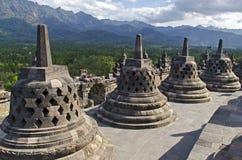 Stupas en Borobudur Fotos de archivo libres de regalías