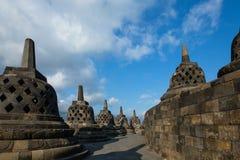 Stupas en el templo de Borobudur Foto de archivo libre de regalías