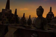 Stupas en el templo de Borobudur Fotos de archivo libres de regalías