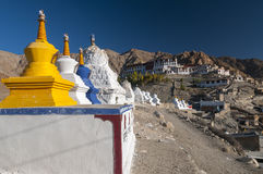 Stupas in front of budhist temple Phyang, Ladakh, India Stock Photography