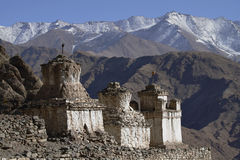 Stupas and Himalayan mountains in Ladakh Royalty Free Stock Image