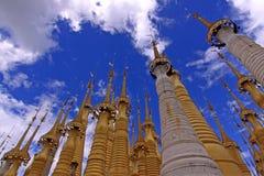 Stupas in Indein. Golden shining Stupas in Indein Myanmar Royalty Free Stock Photography