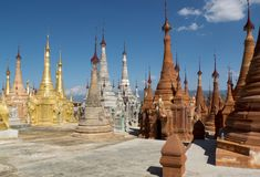 Stupas in Indein. royalty free stock photo
