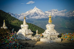 Stupas Infront of Sacred Buddhist Meili Mountain Stock Photography