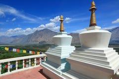 Stupas in Leh, Ladakh, India. Beautiful scenic view from Stupas in Leh, Ladakh, India Stock Photo