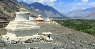 Stupas in Leh, Ladakh, India. Beautiful scenic view from Stupas in Leh, Ladakh, India Royalty Free Stock Image