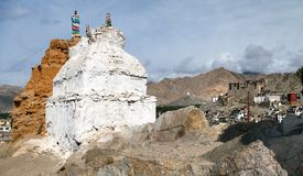 Stupas in Leh and Leh palace Royalty Free Stock Photography