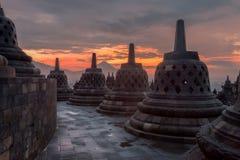 Stupas przy Borobudur fotografia royalty free