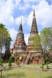 Stupas przy Watem Yai Chai Mongkol w Ayutthaya Zdjęcia Royalty Free
