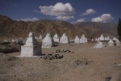 Stupas. Thousand Stupas near Tiksey monastery royalty free stock image