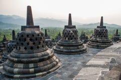 Stupas on top of Borobudur Temple in Indonesia. The island of Java. Stock Image