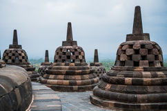 Stupas on top of Borobudur Temple in Indonesia. The island of Java. Stock Photo