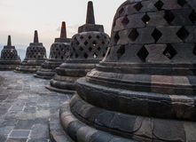 Stupas on top of Borobudur Temple in Indonesia. The island of Java. Royalty Free Stock Photography