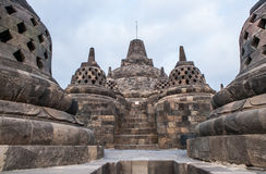 Stupas on top of Borobudur Temple in Indonesia. The island of Java. Royalty Free Stock Photos