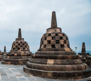 Stupas on top of Borobudur Temple in Indonesia. The island of Java. Royalty Free Stock Image
