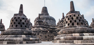 Stupas on top of Borobudur Temple in Indonesia. The island of Java. Stock Photo