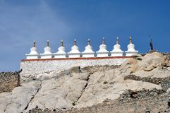Stupas at the top of the mountain royalty free stock images