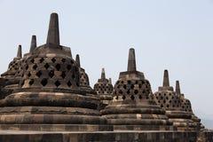 Stupas van Borobudur-tempel, Java, Indonesië Royalty-vrije Stock Foto's