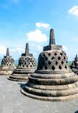 Stupas w Borobudur świątyni, Środkowy Jawa, Yogyakarta, Indonezja Obraz Stock