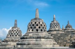 Stupas w Borobudur świątyni, Środkowy Jawa, Yogyakarta, Indonezja Obrazy Stock