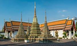 Stupas in Wat Po-complexe tempel Royalty-vrije Stock Afbeeldingen