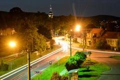 Stupava at Night. Blurry lights on streets of Stupava city near Bratislava royalty free stock image