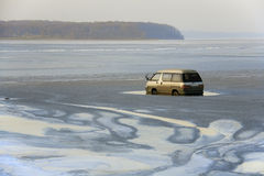 Stupid accident with minibus. At ice-covered Amursky bay, Vladivostok stock photography