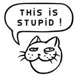 This is Stupid! Cartoon Cat Head. Speech Bubble. Vector Illustration. Royalty Free Stock Photo