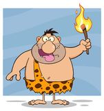 Stupid Caveman Cartoon Character Holding Up A Fiery Torch. Illustration Isolated On White Background Royalty Free Stock Photography