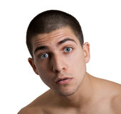Stupid Face. Man with stupid face on white background royalty free stock images